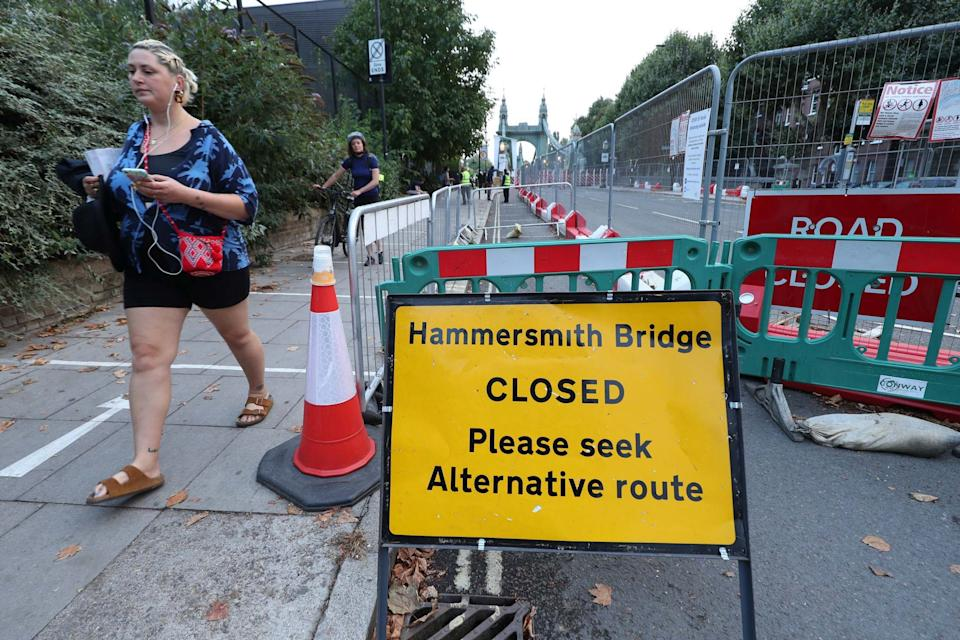 The bridge was closed to pedestrians and cyclist last month (PA)