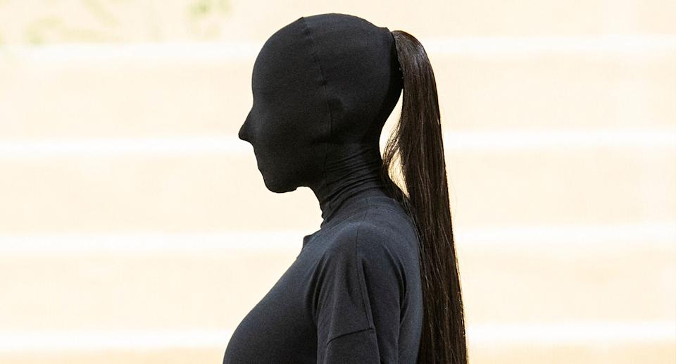 Wondered what was under Kim Kardashian's mask? You're not alone. (Getty Images)