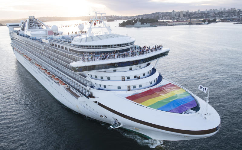 The Golden Princess arrives in Sydney Harbour flying the rainbow flag in support of marriage equality. (James D. Morgan via Getty Images)