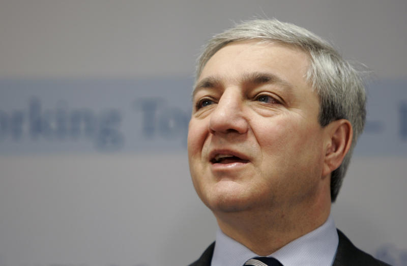 FILE - In this March 7, 2007, file photo, Penn State President Graham Spanier speaks during a news conference at the Penn State Milton S. Hershey Medical Center in Hershey, Pa. The criminal case can move forward against the former Penn State administrator accused of covering up reports that Jerry Sandusky was behaving improperly with children, Judge Barry Feudale ruled Tuesday, April 9, 2013. (AP Photo/Carolyn Kaster, File)