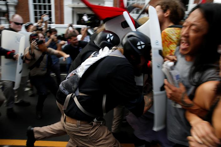 White nationalists clash with counterprotesters in Charlottesville, Va., on Aug. 12. (Photo: Joshua Roberts/Reuters)