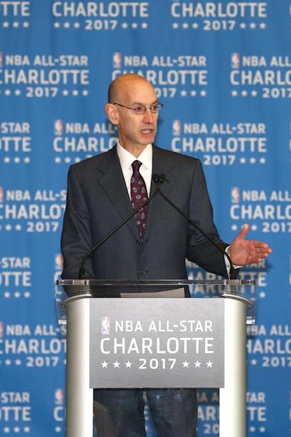 NBA Commissioner Adam Silver announces the Charlotte All-Star Game in June. (Joe Murphy/NBAE via Getty Images)