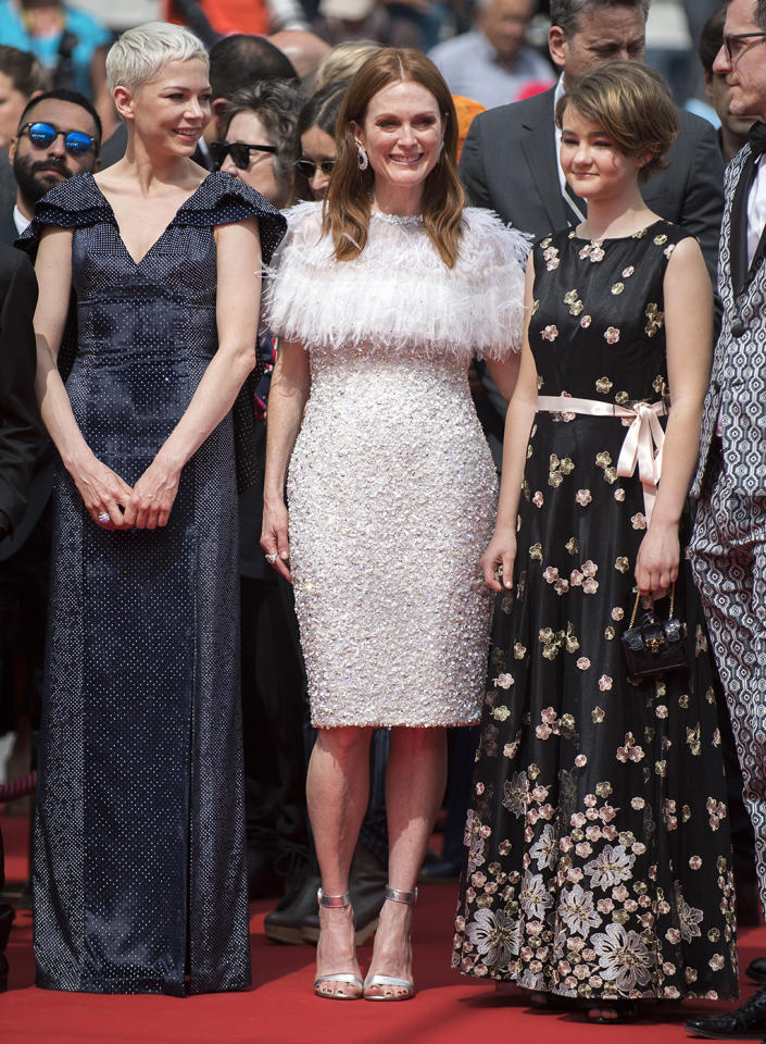 """<p><a rel=""""nofollow"""" href=""""https://www.yahoo.com/movies/tagged/michelle-williams"""">Michelle Williams</a>, <a rel=""""nofollow"""" href=""""https://www.yahoo.com/movies/tagged/julianne-moore"""">Julianne Moore</a>, and Millicent Simmonds at the <a rel=""""nofollow"""" href=""""https://www.yahoo.com/movies/tagged/cannes-film-festival"""">Cannes Film Festival</a> screening of <a rel=""""nofollow"""" href=""""https://www.yahoo.com/movies/film/wonderstruck""""><em>Wonderstruck</em></a> on May 18, 2017 (Photo: Arthur Mola/Invision/AP) </p>"""