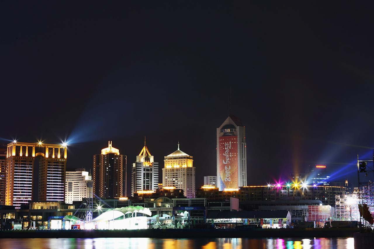 QINGDAO, CHINA - AUGUST 07:  General view of the city skyline from Qingdao Olympic Sailing Center is seen ahead of the Beijing 2008 Olympic Games on August 7, 2008 in Qingdao, China.  (Photo by Clive Mason/Getty Images)