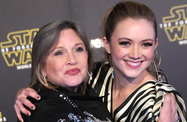 Carrie Fisher and Billie Lourde at the Hollywood premiere of <em>Star Wars: The Force Awakens</em> in 2015. Lourde briefly plays her mother's signature character, Leia Organa, in <em>The Rise of Skywalker</em>. (Photo: Getty Images)