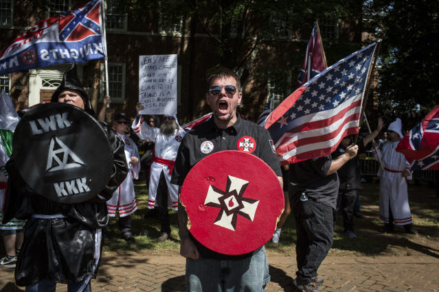 The Ku Klux Klan protested on July 8 in Charlottesville, Va. (Photo: Chet Strange/Getty Images)
