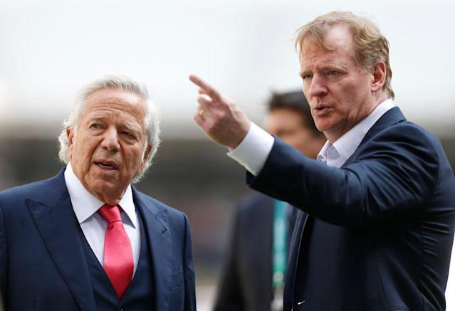Robert Kraft and Roger Goodell are two of the figures who come in for skewering in a new book. (Getty)
