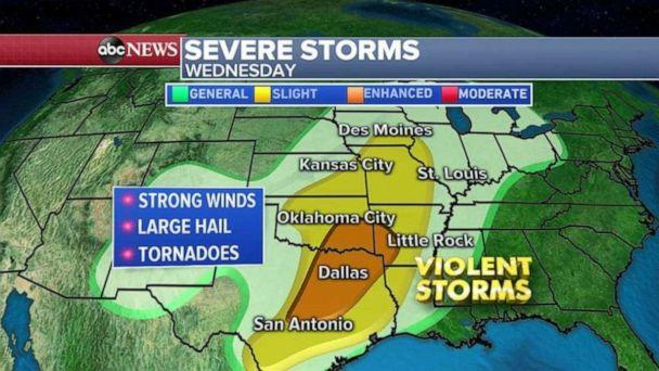 PHOTO: Another severe storm takes aim at the South by midweek. (ABC News)