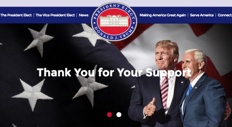 Donald Trump's campaign slogan is now an official government website
