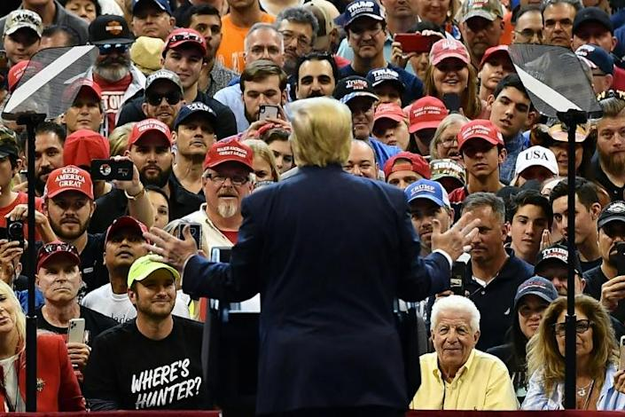 US President Donald Trump swore and hurled insults during a Florida rally in a show of strength from his right-wing base (AFP Photo/MANDEL NGAN)