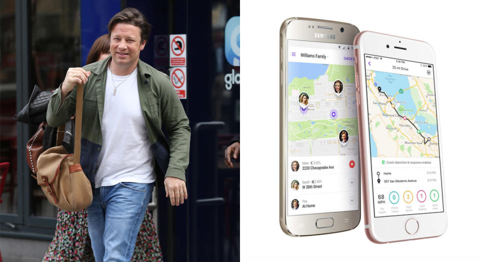 Jamie Oliver has admitted to using an app to track his daughter's whereabouts [Photos: Getty/Life360]