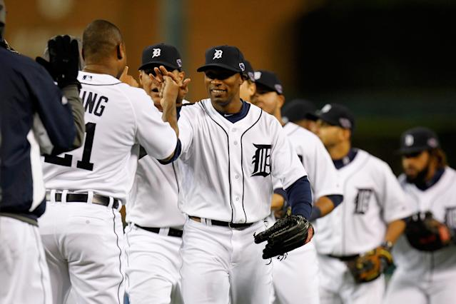 DETROIT, MI - OCTOBER 06: Austin Jackson #14 of the Detroit Tigers celebrates with teammates after they won 3-1 against the Oakland Athletics during Game One of the American League Division Series at Comerica Park on October 6, 2012 in Detroit, Michigan. (Photo by Gregory Shamus/Getty Images)