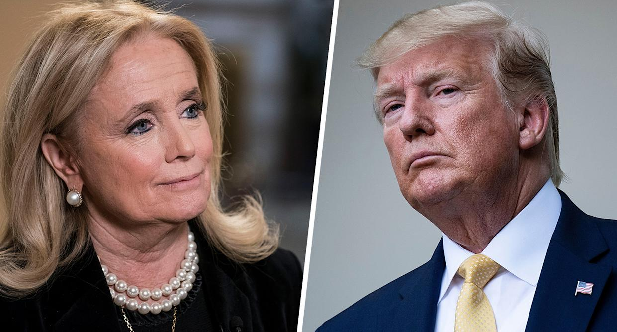 Rep. Debbie Dingell, D-Mich.(Photo by Sarah Silbiger/Getty Images) President Donald Trump (Photo by
