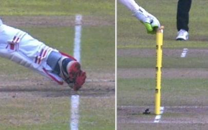 The foot of Perera is on the line as he is stumped - Sky Sports Cricket