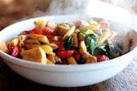 """<p>Juicy chunks of chicken, flavorful tomatoes, and plenty of Parmesan shavings make for a truly delicious pasta dish.</p><p><strong><a href=""""https://www.thepioneerwoman.com/food-cooking/recipes/a10607/chicken-florentine-pasta/"""" rel=""""nofollow noopener"""" target=""""_blank"""" data-ylk=""""slk:Get the recipe"""" class=""""link rapid-noclick-resp"""">Get the recipe</a>.</strong></p><p><strong><a class=""""link rapid-noclick-resp"""" href=""""https://go.redirectingat.com?id=74968X1596630&url=https%3A%2F%2Fwww.walmart.com%2Fbrowse%2Fhome%2Fthe-pioneer-woman-cookware%2F4044_623679_6182459_9190581&sref=https%3A%2F%2Fwww.thepioneerwoman.com%2Ffood-cooking%2Fmeals-menus%2Fg37103321%2Fchicken-pasta-recipes%2F"""" rel=""""nofollow noopener"""" target=""""_blank"""" data-ylk=""""slk:SHOP COOKWARE"""">SHOP COOKWARE</a><br></strong></p>"""