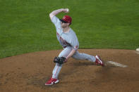 Cincinnati Reds pitcher Anthony Solafani throws to a Minnesota Twins batter during the fifth inning of a baseball game Saturday, Sept. 26, 2020, in Minneapolis. (AP Photo/Jim Mone)