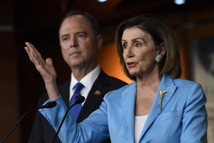 House Speaker Nancy Pelosi, joined by House Intelligence Committee Chairman Rep. Adam Schiff, speaks during a news conference on Capitol Hill on Oct. 2, 2019. (Susan Walsh/AP)