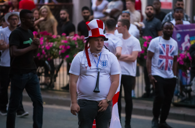<p>It wasn't to be in 2018 but this England supporter in Birmingham has the hat for next time. (SWNS) </p>