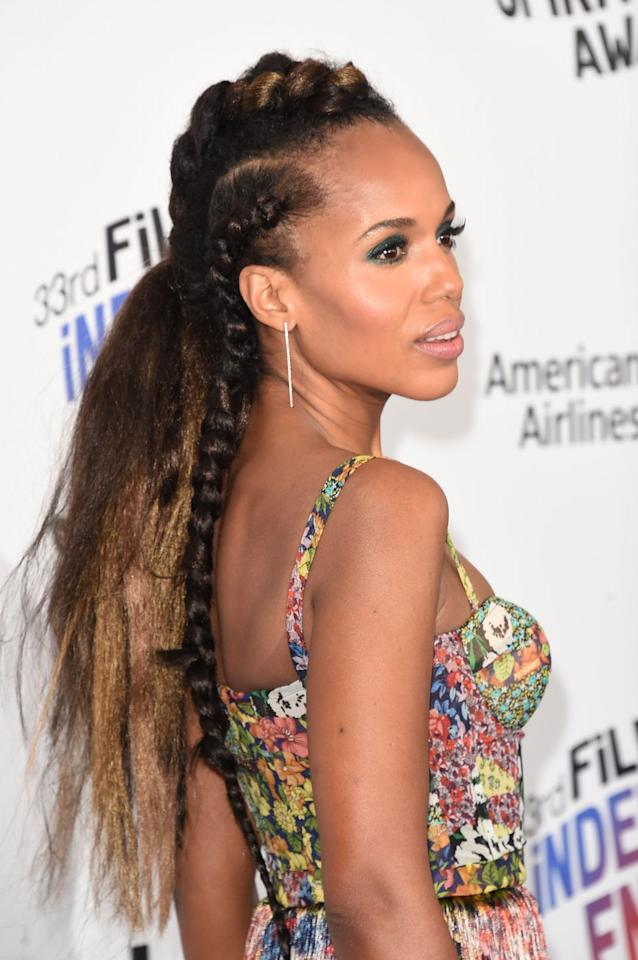 <p>Complementary colors interweaved into braids turns a simple look up several notches. Kerry's streaked, straight-back braids take texture to new heights. </p>