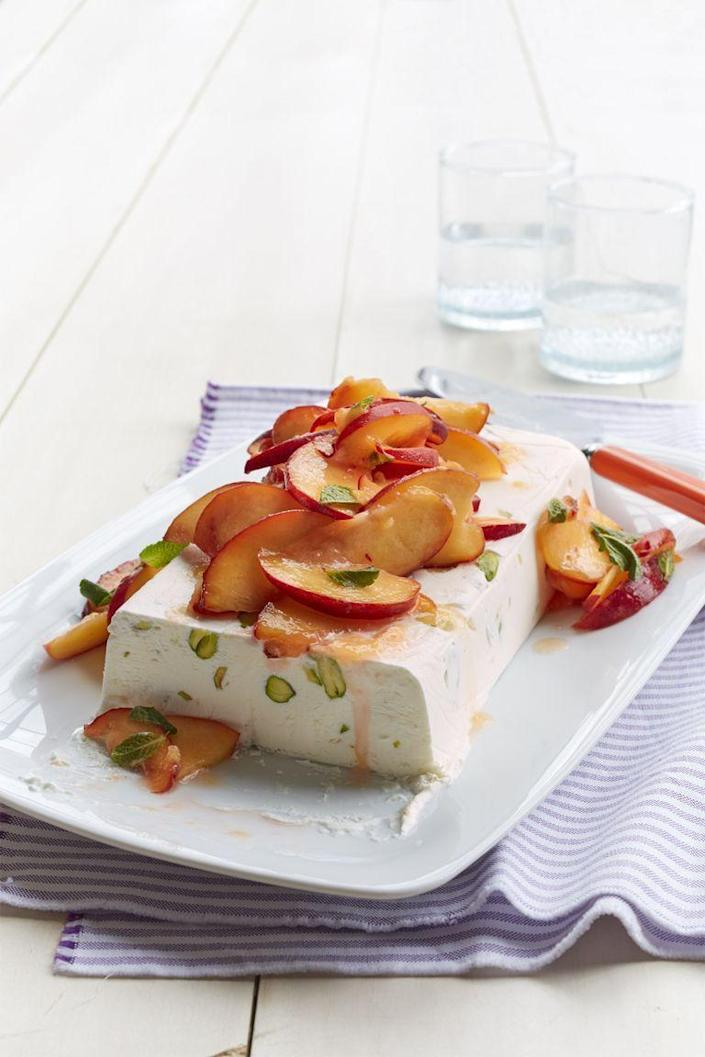 "<p>This gluten-free dessert requires zero baking and takes less than 30 minutes to make, from start to finish.</p><p><em><a href=""https://www.womansday.com/food-recipes/food-drinks/recipes/a55284/semifreddo-with-honeyed-peaches-recipe/"" rel=""nofollow noopener"" target=""_blank"" data-ylk=""slk:Get the recipe for Semifreddo with Honeyed Peaches."" class=""link rapid-noclick-resp"">Get the recipe for Semifreddo with Honeyed Peaches.</a></em></p><p><strong>RELATED:</strong> <a href=""https://www.womansday.com/food-recipes/food-drinks/g2159/gluten-free-desserts/"" rel=""nofollow noopener"" target=""_blank"" data-ylk=""slk:45 Gluten-Free Desserts That Are Insanely Delicious"" class=""link rapid-noclick-resp"">45 Gluten-Free Desserts That Are Insanely Delicious</a></p>"