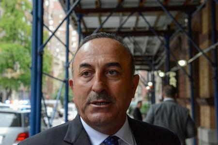 Turkey's Minister of Foreign Affairs Mevlut Cavusoglu arrives at a meeting to discuss the Rohingya situation during the United Nations General Assembly in New York City