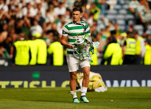 Soccer Football - Scottish Cup Final - Celtic vs Motherwell - Hampden Park, Glasgow, Britain - May 19, 2018 Celtic's Kieran Tierney celebrates with the trophy after winning the Scottish Cup Action Images via Reuters/Jason Cairnduff