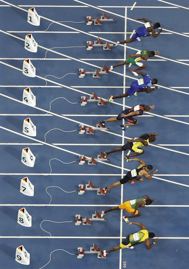 <p>Runners start the 100 meter finals during the athletics competitions of the 2016 Summer Olympics at the Olympic stadium in Rio de Janeiro, Brazil, Sunday, Aug. 14, 2016. (AP Photo/Morry Gash) </p>
