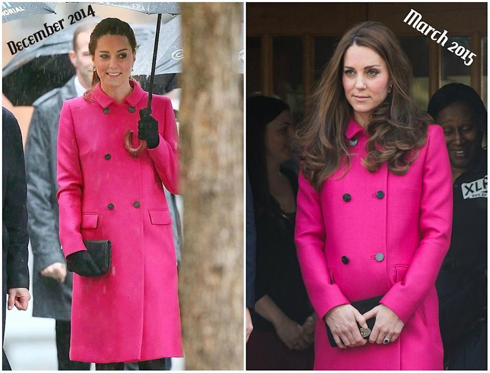 Kate wore the hot pink Mulberry coat during her royal trip to New York in December 2014 and again in March 2015. (<em>Photos: Getty)</em>