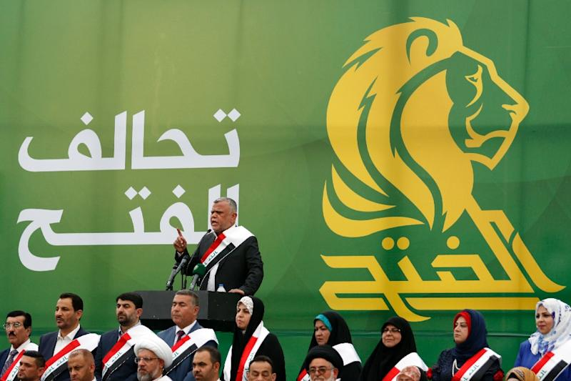 Hadi al-Ameri, head of the Badr organisation and leader of the mostly Shiite Hashed al-Shaabi paramilitary units, speaks during a campaign gathering in the city of Basra on April 21, 2018 (AFP Photo/HAIDAR MOHAMMED ALI)