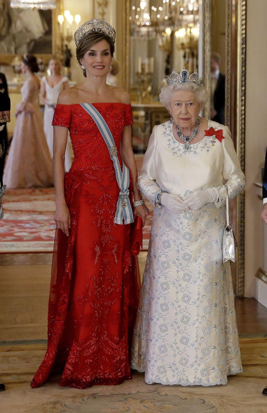 <p>King Felipe and Queen Letizia of Spain embarked on a state visit to the United Kingdom in 2017. Queen Elizabeth hosted the royals for an official state banquet at Buckingham Palace. Letizia wore a striking off-the-shoulder dress with a gorgeous tiara, while the Queen wore a white embroidered gown also with an equally impressive tiara. </p>