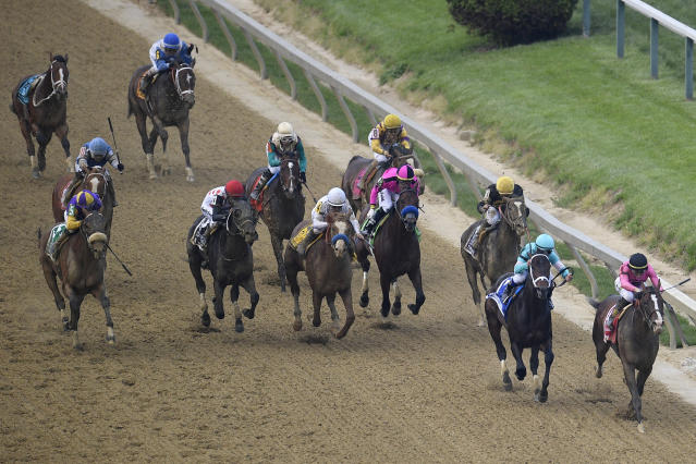 War of Will, ridden by Tyler Gaffalione, right, prepares to win the Preakness Stakes horse race at Pimlico Race Course, Saturday, May 18, 2019, in Baltimore. (AP Photo/Nick Wass)