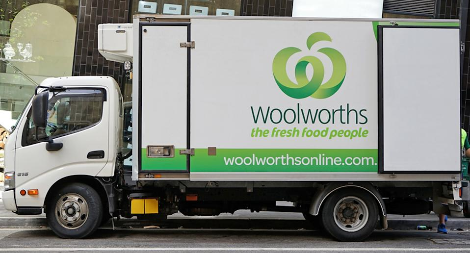 A Woolworths home delivery truck.