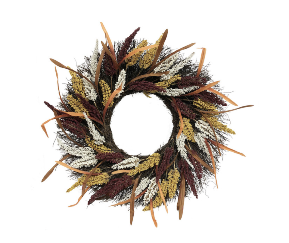 Holiday Living Harvest Indoor/Outdoor Artificial Wreath in brown, white, yellow, and orange
