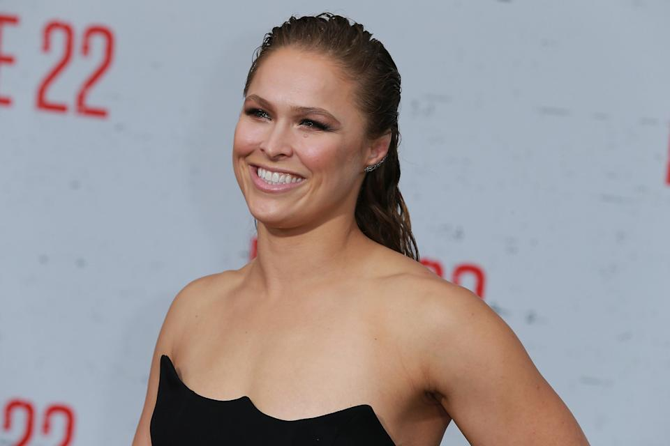WESTWOOD, CA - AUGUST 09:  Ronda Rousey attends the Premiere Of STX Films'