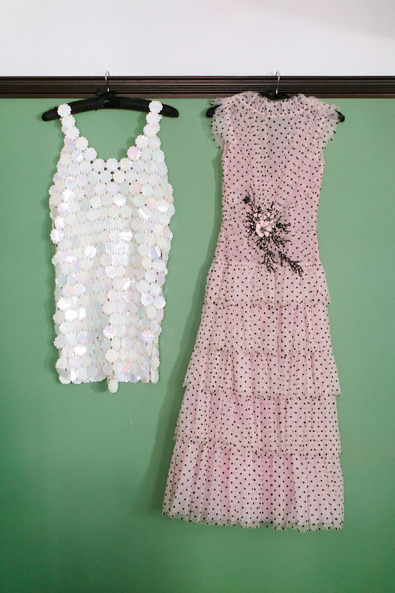 The Paco Rabanne dress I wore at the reception and the Rodarte dress I wore to the ceremony.
