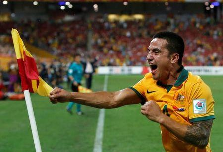 Australia's Tim Cahill celebrates his second goal during their Asian Cup quarter-final soccer match against China at the Brisbane Stadium in Brisbane