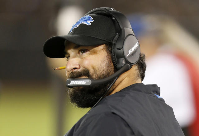 "Rookie <a class=""link rapid-noclick-resp"" href=""/nfl/teams/det"" data-ylk=""slk:Detroit Lions"">Detroit Lions</a> head coach Matt Patricia watched his franchise quarterback throw five interceptions as his team lost at home on Monday night to the <a class=""link rapid-noclick-resp"" href=""/nfl/teams/nyj"" data-ylk=""slk:New York Jets"">New York Jets</a>. (AP)"