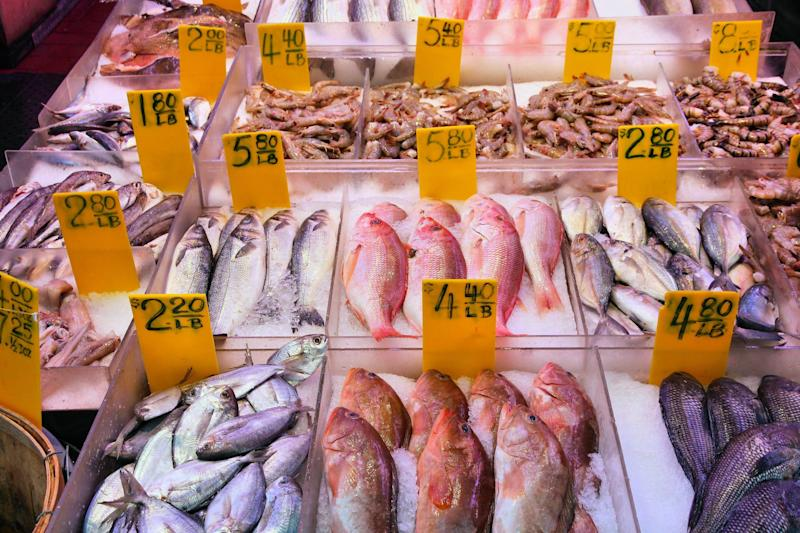 Seafood on display at a fish market in New York City. (Photo: tupungato via Getty Images)