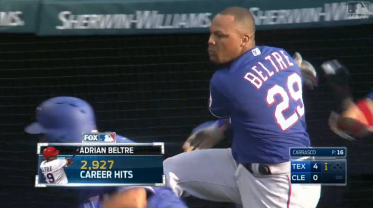 Adrian Beltre does not appreciate when others touch his head. (MLB.com Screen shot)