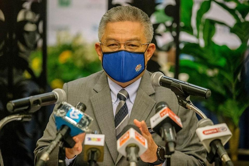 Health Minister Datuk Seri Dr Adham Baba speaks during a press conference in Kuala Lumpur April 6, 2021. ― Picture by Firdaus Latif