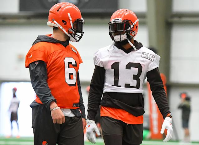 Baker Mayfield and Odell Beckham Jr. will look to develop a dangerous chemistry in Cleveland. (Getty Images)