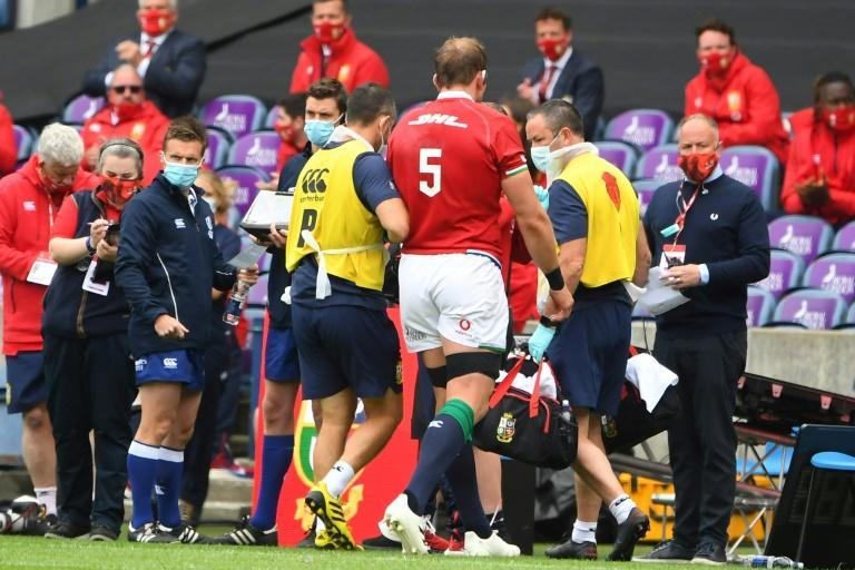 Injured - British and Irish Lions captain Alun Wyn Jones leaves the field against Japan at Murrayfield on Saturday