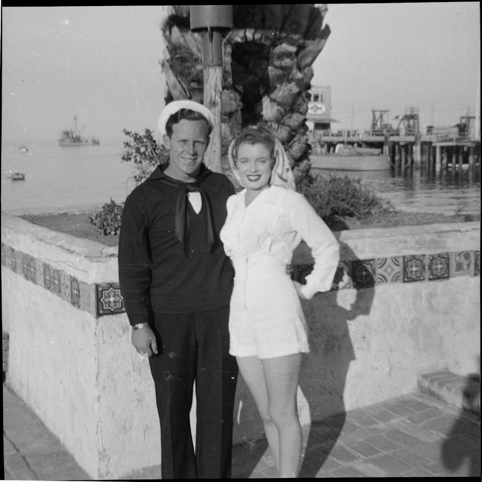 <p>Norma married merchant marine, Jimmy Dougherty, when she was 16 years old. The marriage lasted until 1946. </p>