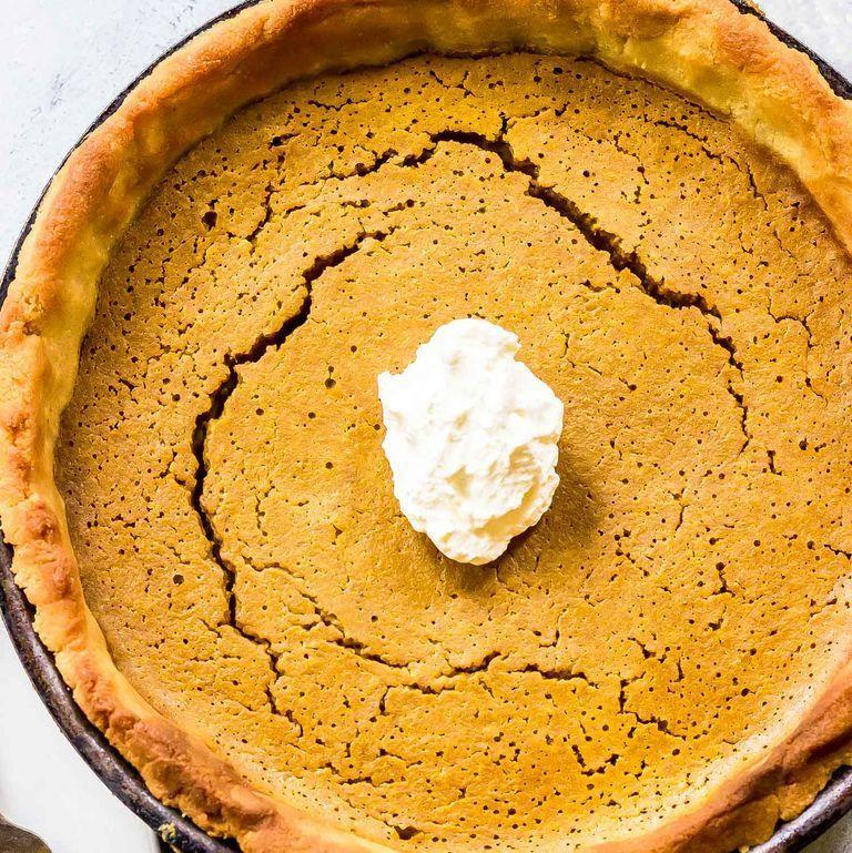 "<p>A classic for Thanksgiving, this pumpkin pie from <a href=""https://www.castironketo.net/blog/keto-pumpkin-pie?rq=thanksgiving"" rel=""nofollow noopener"" target=""_blank"" data-ylk=""slk:Cast Iron Keto"" class=""link rapid-noclick-resp"">Cast Iron Keto</a> is creamy in the center but flaky on the outside, making it the perfect dessert this holiday. It even has a bit of protein—12.1 grams—so you won't feel like grabbing a second slice.</p>"