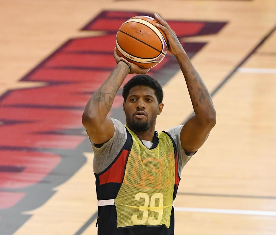 Along with knee surgery, Paul George had fluid drained from his elbow, per a report. (Getty)