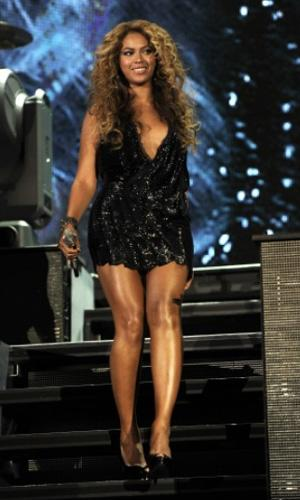 Beyonce Knowles in a black mini