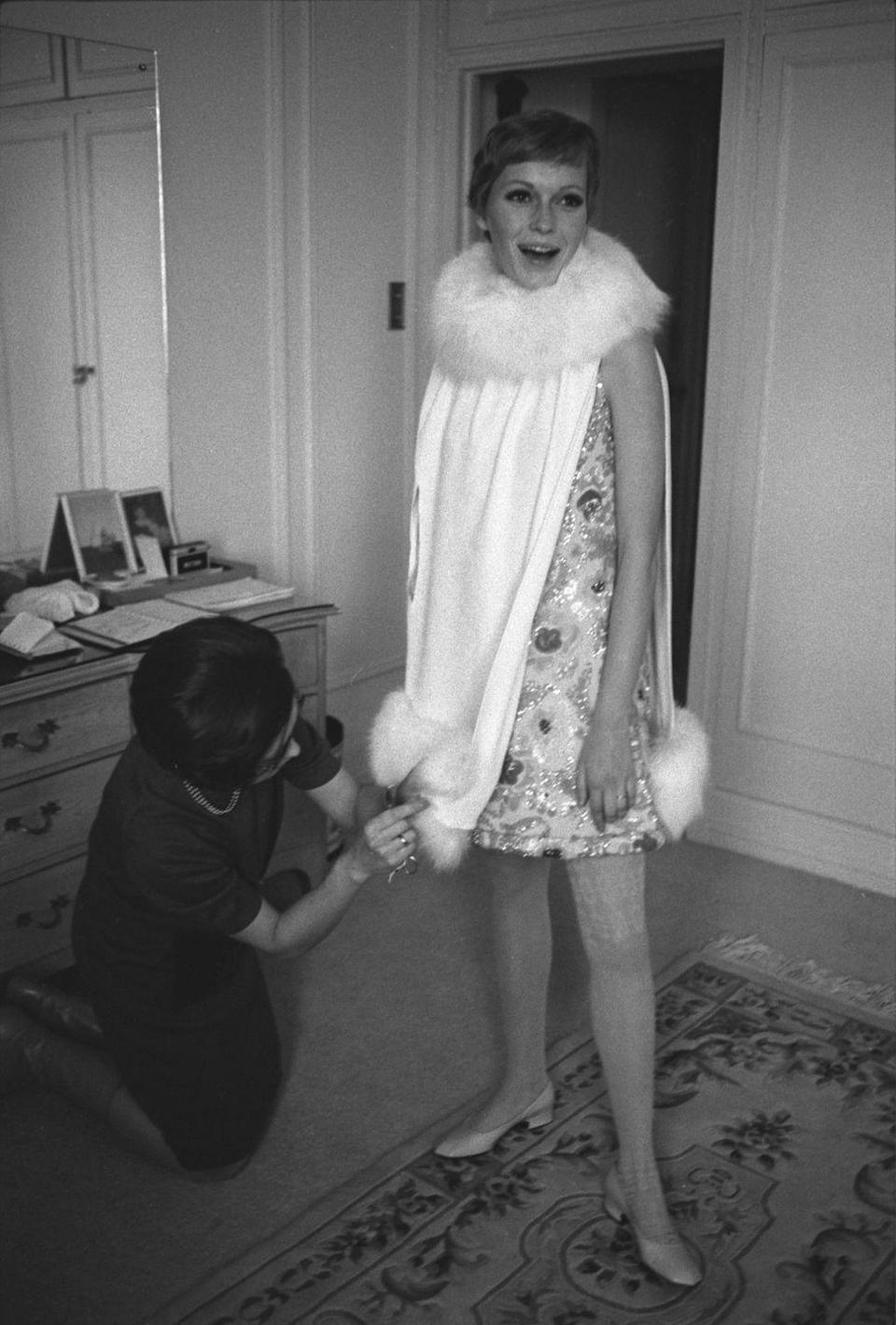 <p>Farrow during a costume fitting for <em>A Dandy in Aspic</em> in 1967. The film, released in 1968, was one of many projects Farrow starred in that year.</p>