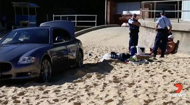 The golfer drove up onto the sand on Camp Cove Beach. Photo: 7 News