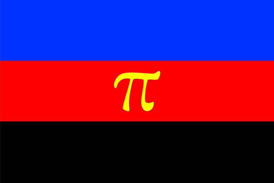 """<p>Just as the symbol pi goes on indefinitely after the decimal, there are infinite partners available to those who identify as polyamorous. Gold represents emotional connection, not just sexual love. A <a href=""""https://www.unco.edu/gender-sexuality-resource-center/resources/pride-flags.aspx"""" rel=""""nofollow noopener"""" target=""""_blank"""" data-ylk=""""slk:modified version"""" class=""""link rapid-noclick-resp"""">modified version</a> was created in 2017 with infinity hearts instead of the pi symbol. </p>"""