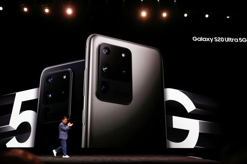 FILE PHOTO: TM Roh of Samsung Electronics unveils the Galaxy S20 Ultra 5G smartphone during Samsung Galaxy Unpacked 2020 in San Francisco